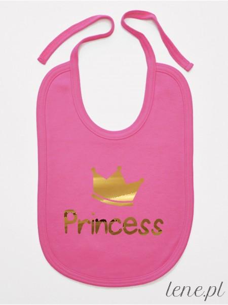 Princess Z Koroną Nadruk Złoty- śliniak