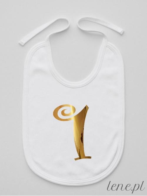 Śliniak niemowlęcy Jedynka Złota Na Roczek