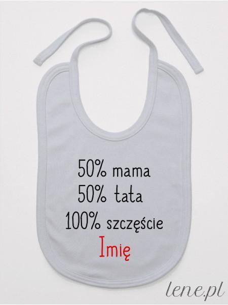 50% Mama 50% Tata Z Imieniem - śliniak