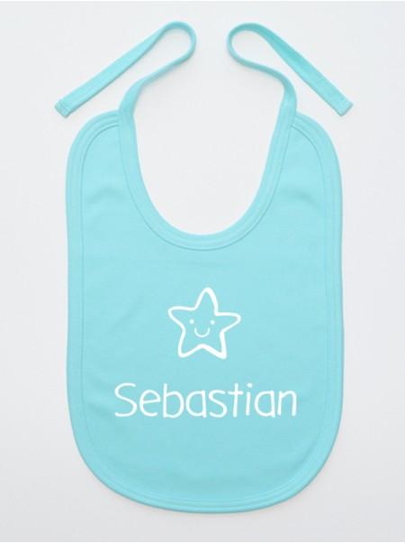 Śliniak  Gwiazdka z imieniem Sebastian kolor turkusowy