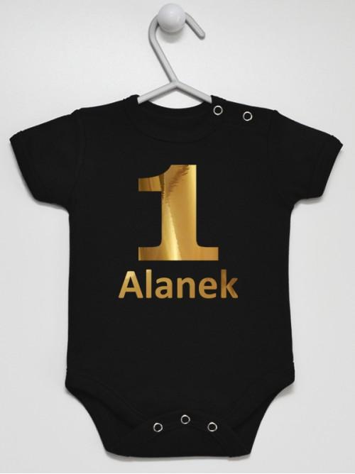 Body niemowlęce Na Roczek z imieniem Alanek rozmiar 80 krótki rękaw nadruk złoty