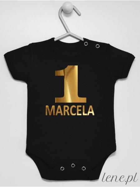 Body niemowlęce Na Roczek z imieniem Marcela rozmiar 80, krótki rękaw, kolor czarny