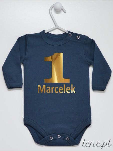 Body niemowlęce Na Roczek z imieniem Marcelek rozmiar 80, długi rękaw, kolor granatowy