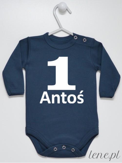 Body niemowlęce Na Roczek z imieniem Antoś rozmiar 80, długi rękaw, kolor granatowy