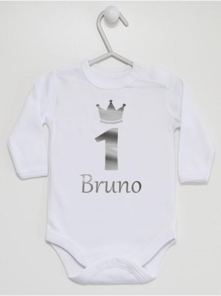 Body dla chłopca na roczek Jedynka Srebrna z imieniem Bruno  rozmiar 86 długi rękaw nadruk srebrny