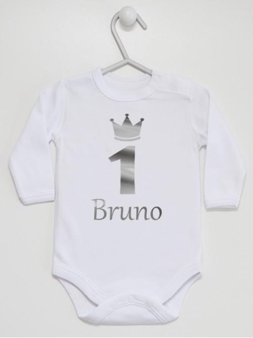 Body niemowlęce  Jedynka Srebrna z imieniem Bruno  rozmiar 86 długi rękaw nadruk srebrny