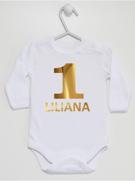 Body niemowlęce Na Roczek z imieniem LILIANA rozmiar 92 długi rękaw nadruk złoty