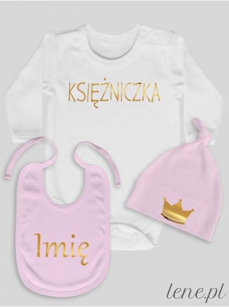 Księżniczka + Imię - komplet niemowlęcy