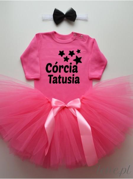 Spódnica z Tiulu Tutu Ciemny Ciemny Róż i Body Córcia Tatusia - zestaw dla niemowląt