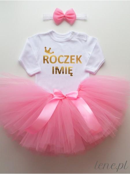 Różowa Spódniczka Tiulowa Tutu i Body Korona Złota Roczek z Imieniem - komplet dla dziewczynki na roczek