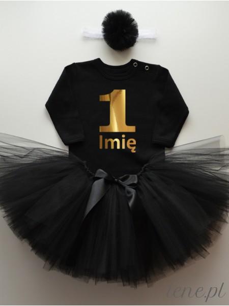 Jedynka Złoty Nadruk + Imię - Komplet Spódniczka Tutu I Body Czarne