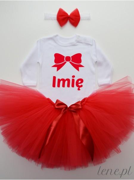 Czerwona Tiulowa Spódniczka Tutu i Body Kokardka Czerwona + Imię - komplet z imieniem dla dziewczynki