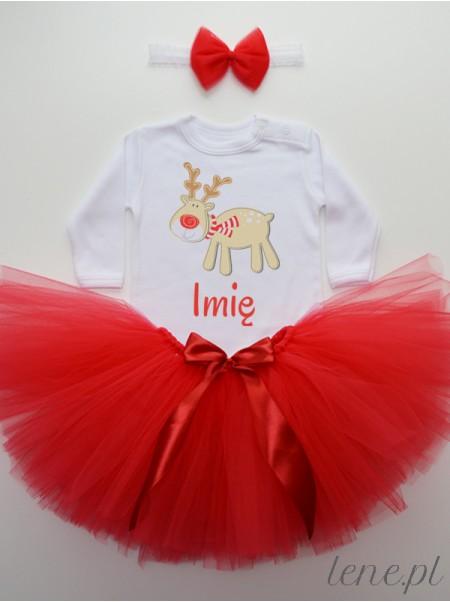 Renifer + Imię - Komplet Spódniczka Tutu I Body