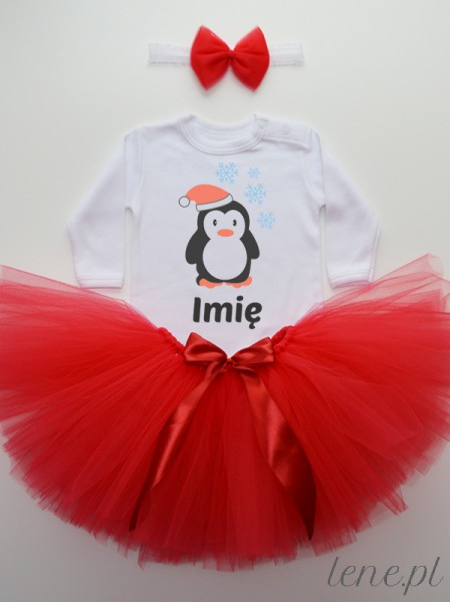 Pingwinek W Czapce + Imię - Komplet Spódniczka Tutu I Body