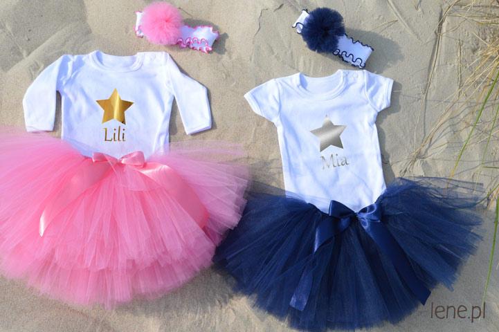 Personalizowane body niemowlęce oraz spódniczki tutu